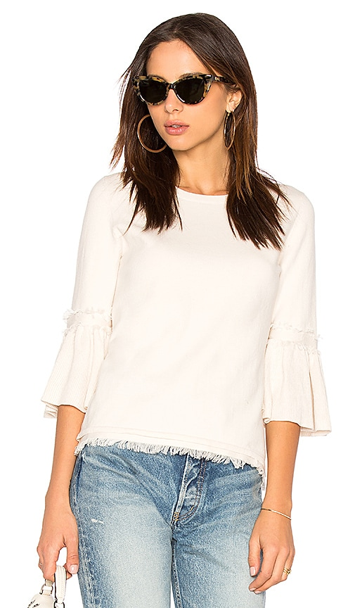 525 america Fringe Tulip Sleeve Sweater in Cream