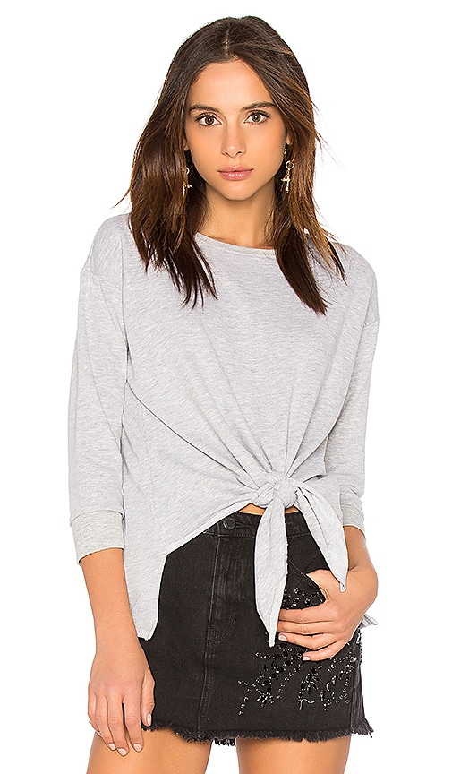 525 america Tie Front Sweater in Gray