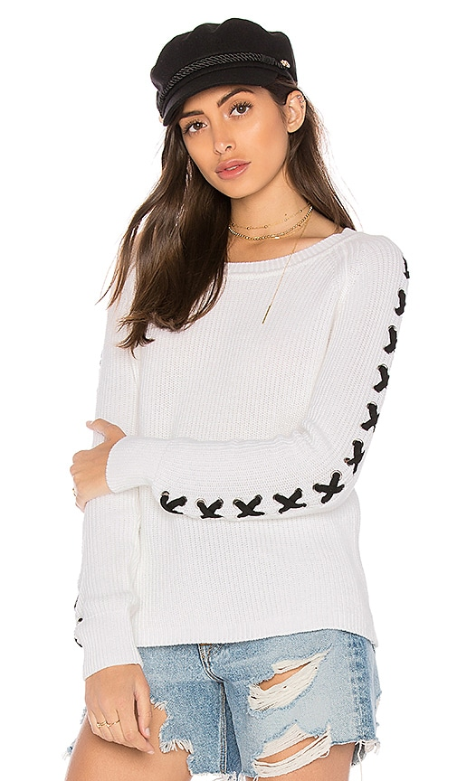 525 america Lace Up Sleeve Sweater in White