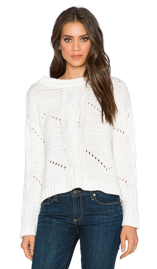525 america Center Cable Crop Sweater in White Cap