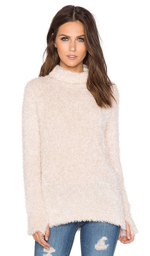 Feather Yarn Funnel Neck Tunic