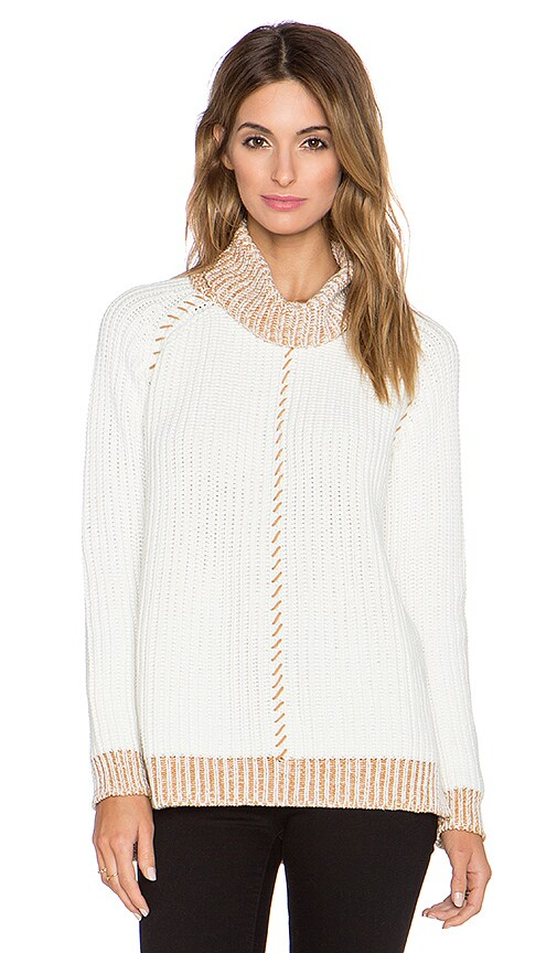 Whipstitch Shaker Turtleneck Sweater