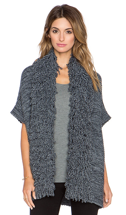525 america Fringe Open Cardigan in Coal Combo