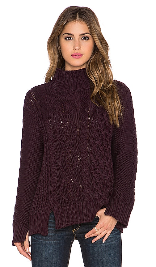 525 america Mixed Stitch Mockneck Cable Knit Sweater in Mulberry