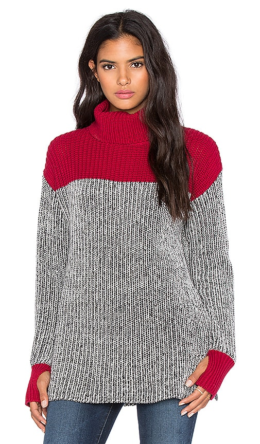 Colorblock Tweed Turtleneck Sweater