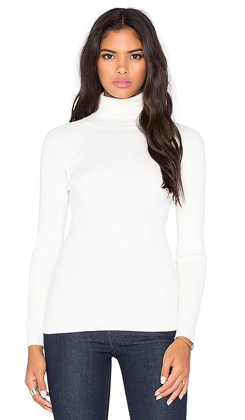 525 america Solid Rib Turtleneck Sweater in White