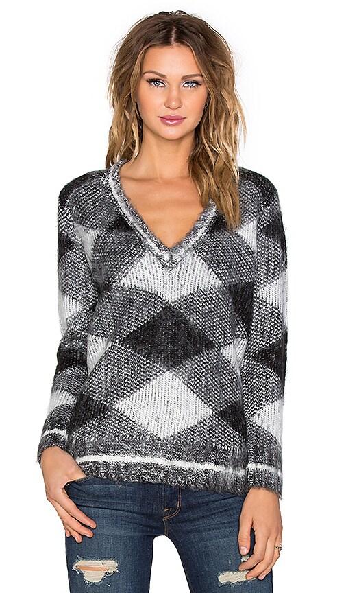 525 america Argyle V Neck Sweater in Black & White
