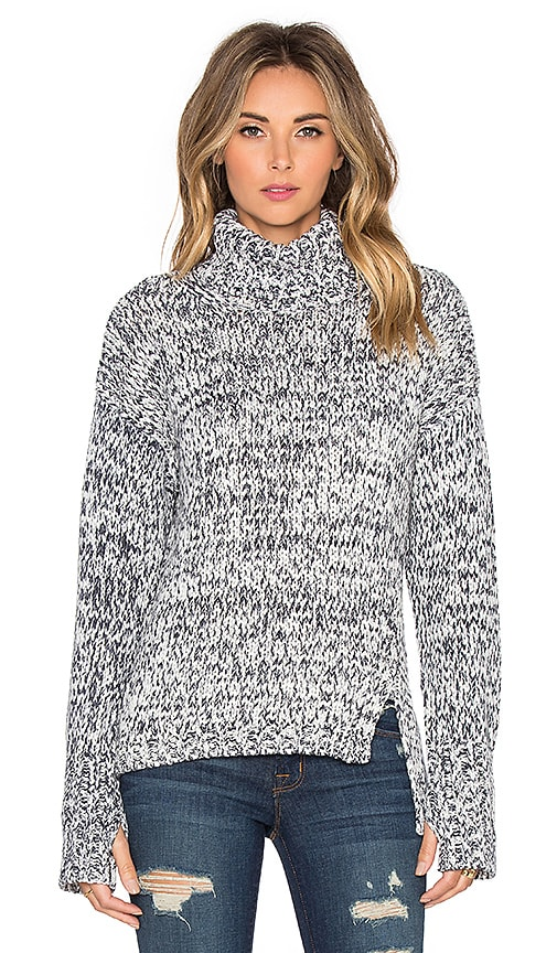 Printed Tape Yarn Turtleneck Sweater