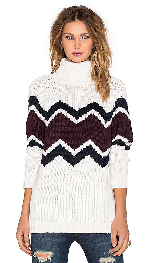525 america Zig Zag Turtleneck Sweater in Ivory Combo