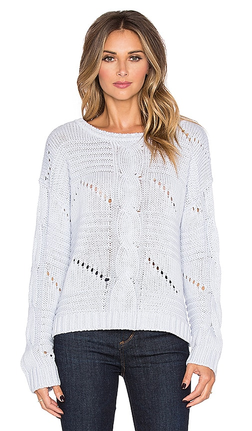 525 america Center Cable Crop Sweater in Nordic Blue