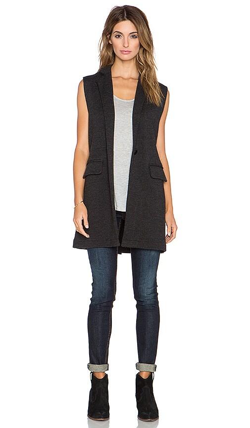 525 america Double Knit Sleeveless Blazer in Dark Grey