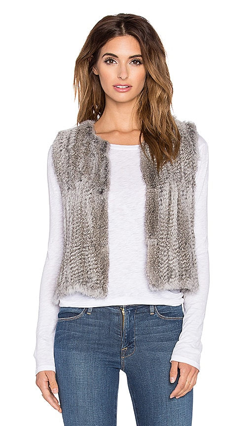 525 america Real Natutral Rabbit Fur Vest in Gray
