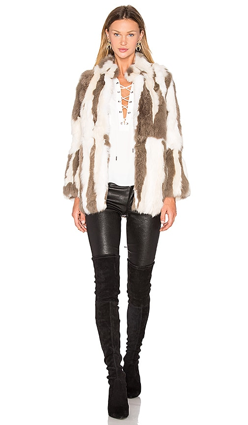 525 america Rabbit Fur Jacket in Taupe