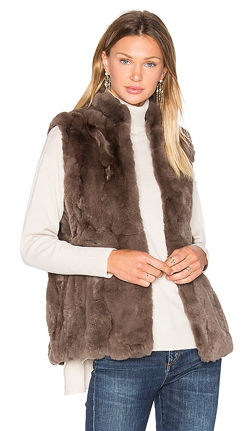525 america Rabbit Fur Vest in Brown