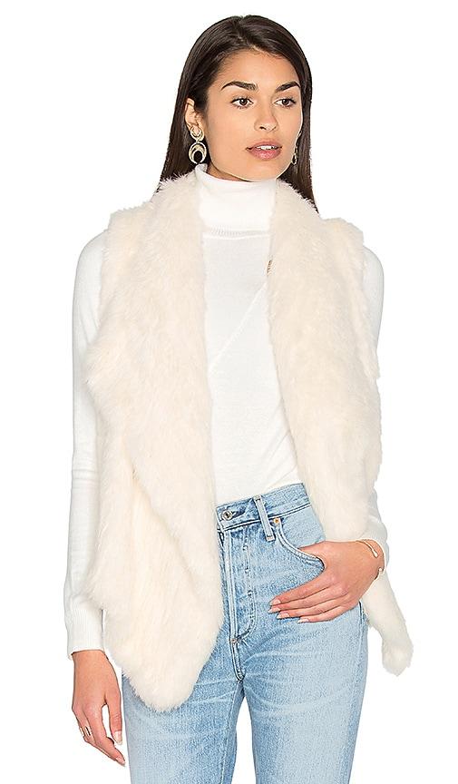 525 america Drape Front Rabbit Fur Vest in Ivory
