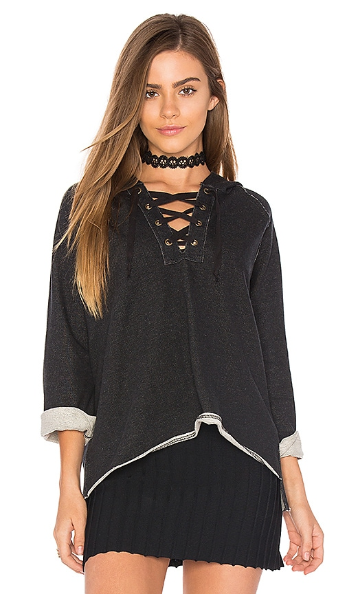 525 america Lace Up Hoodie in Black