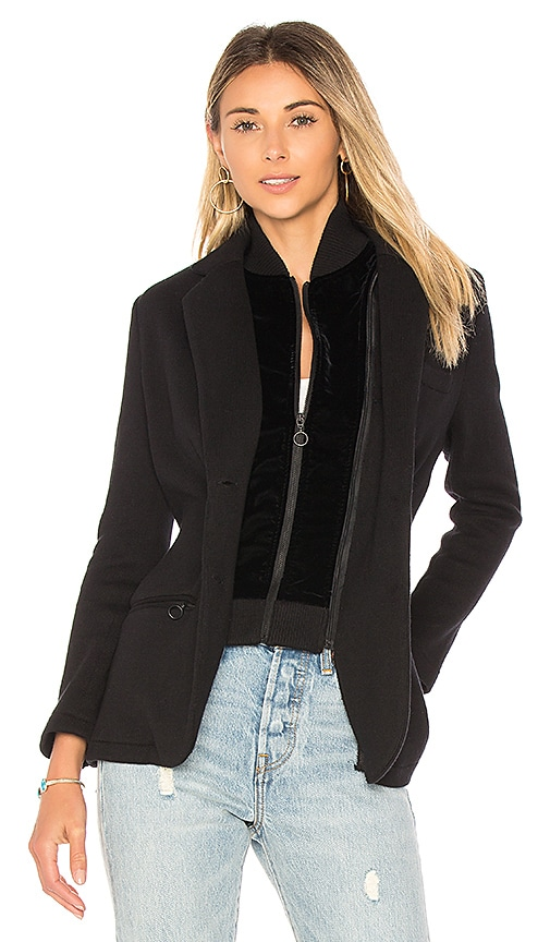525 america Cotton Velvet Inset Blazer in Black