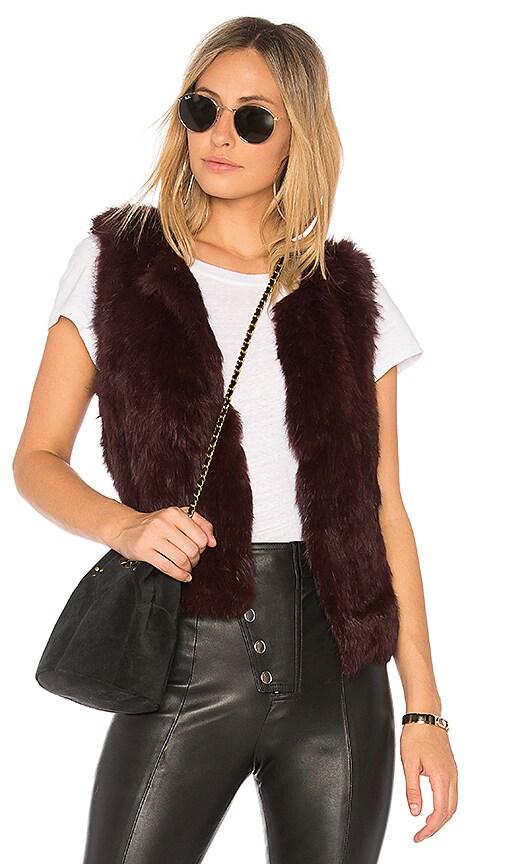 525 america Basic Fur Vest in Burgundy