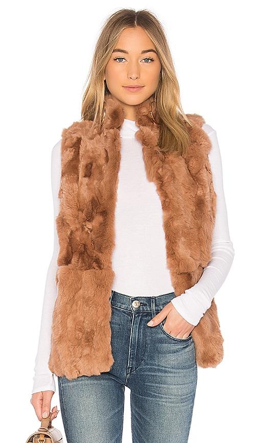 525 america Rabbit Fur Vest in Tan