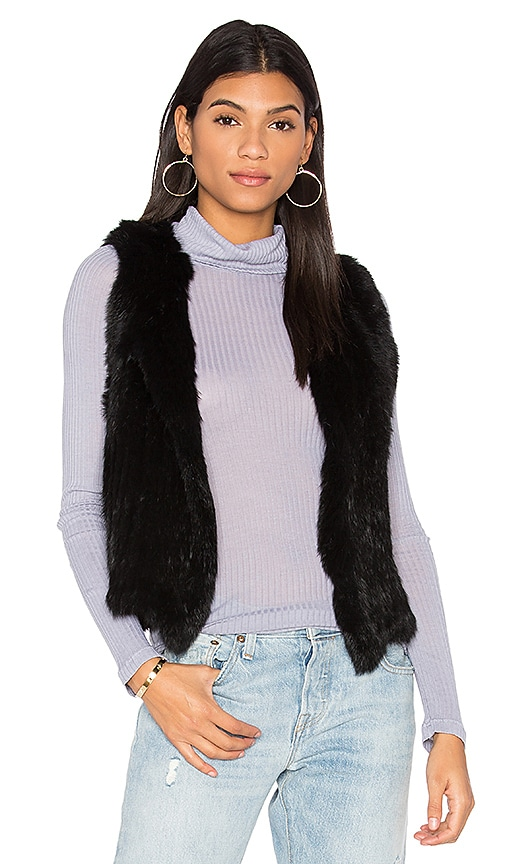 525 america Rabbit Fur Vest in Black
