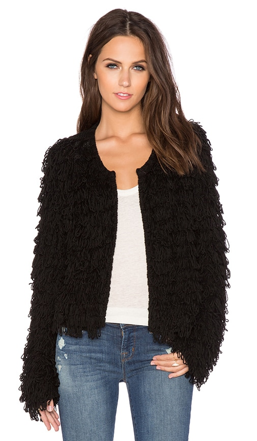 525 america Crop Fringe Jacket in Black