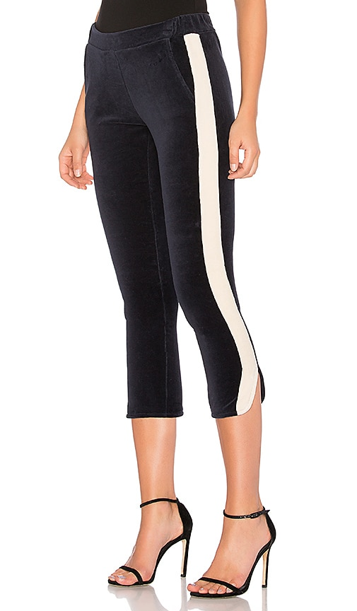 525 america Velour Side Stripe Trackpant in Navy