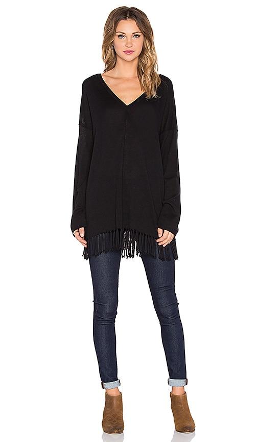 525 america Fringe Poncho Long Sleeve Top in Black
