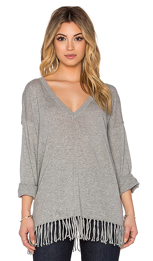 525 america Fringe Poncho Long Sleeve Top in Smoke