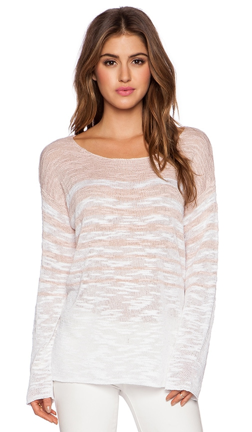 525 america Stripe Boat Neck Longsleeve Top in Blush Pink Combo