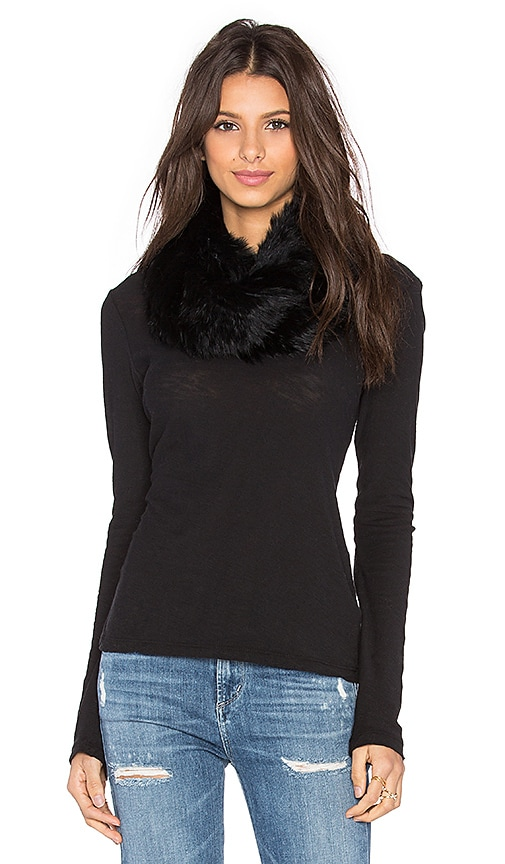 525 america Infinity Rabbit Fur Scarf in Black