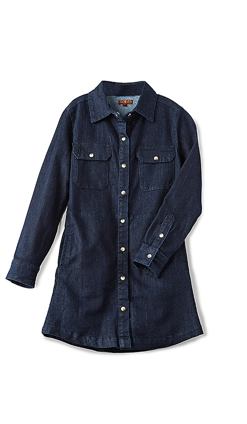 7 For All Mankind Kids Button Up Denim Dress in Rinsed Indigo
