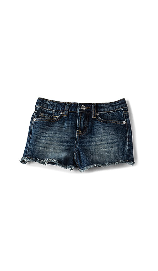 7 For All Mankind Kids Frayed Edge Short in Rigid Sanded Blue