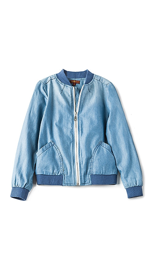 7 For All Mankind Kids Bomber Jacket in Medium Blue