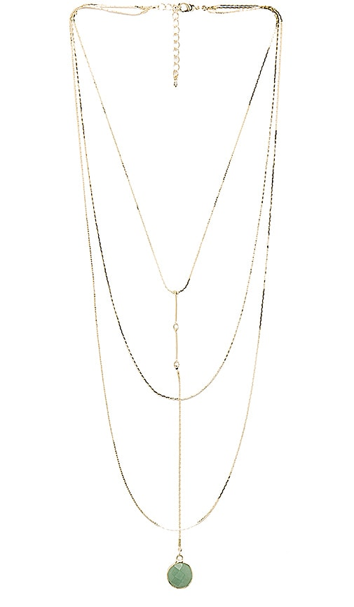 8 Other Reasons Jade Heart Rosary Necklace in Metallic Gold