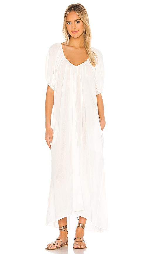 Cornetti Sand Hill Cove Puff Sleeve Midi Dress In White