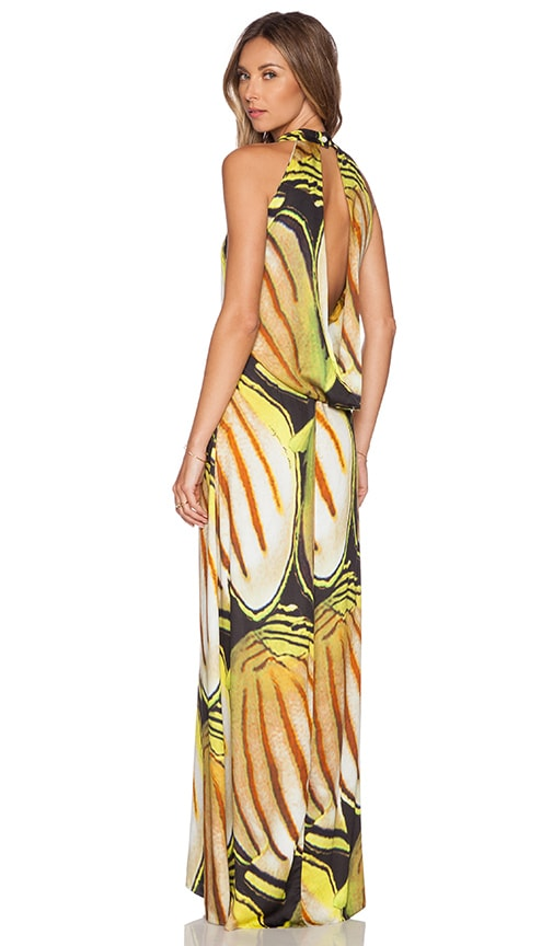 AGUADECOCO Yellow Shoal Maxi Dress in Fish Print