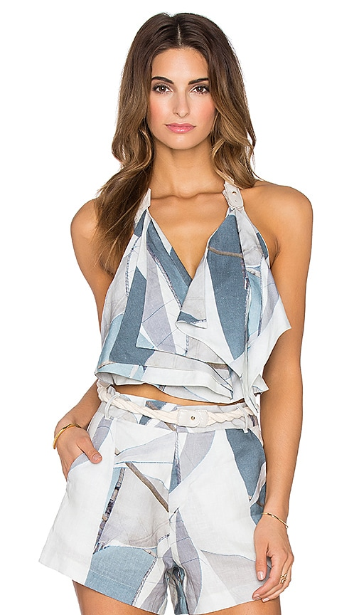 AGUADECOCO Sailor Halter Top in Blue & White