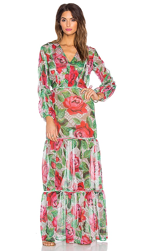 AGUADECOCO Lace Roses Maxi Dress Cover Up in Red