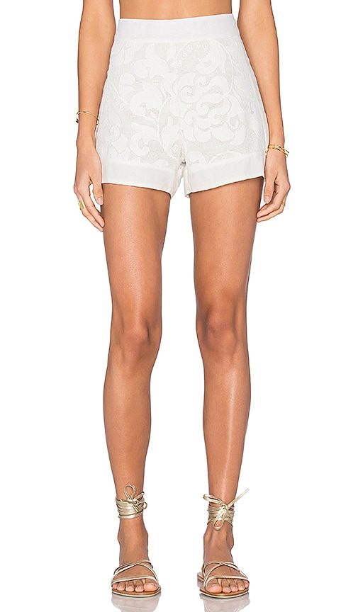 AGUADECOCO Lace Short Cover Up in White