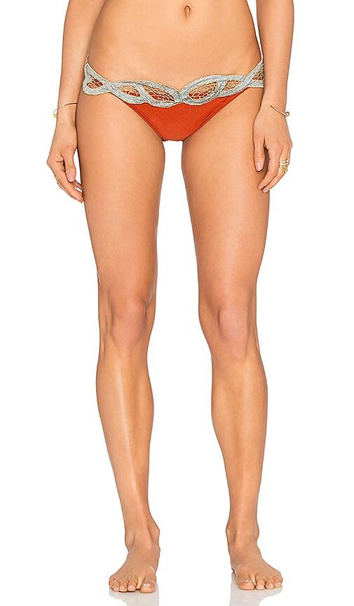 AGUADECOCO Embroidered Bikini Bottom in Orange