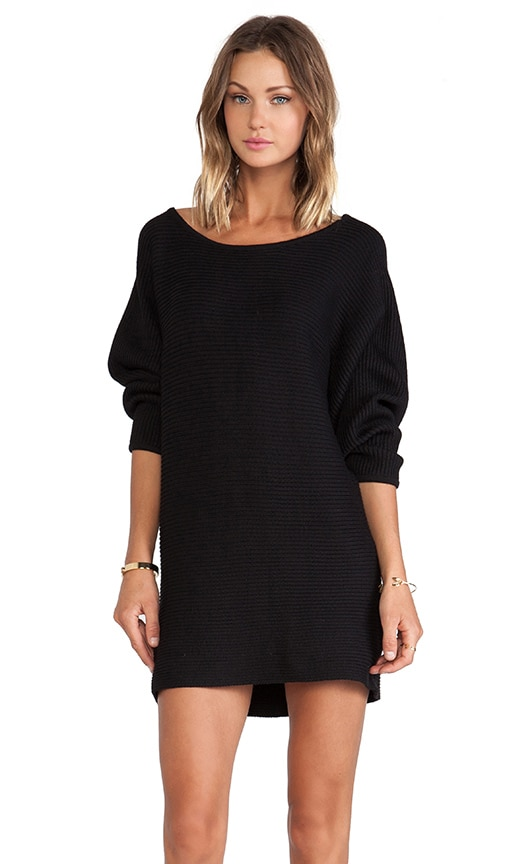 Assali Chhatri Wool Sweater Dress in Night Black