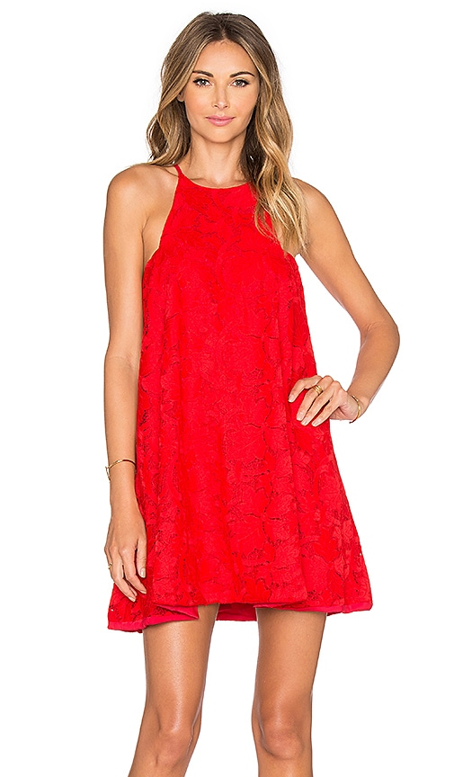 Assali Hydrangea Mini Dress in Red