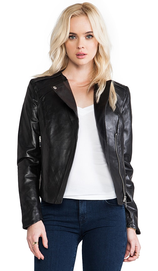 Drape Collar Leather Biker Jacket