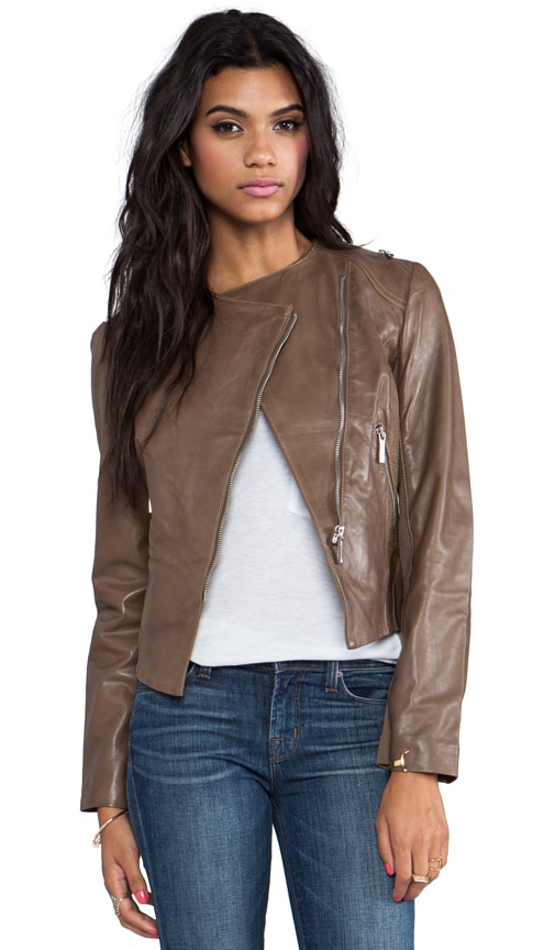 Leather Zipper Trim Biker Jacket