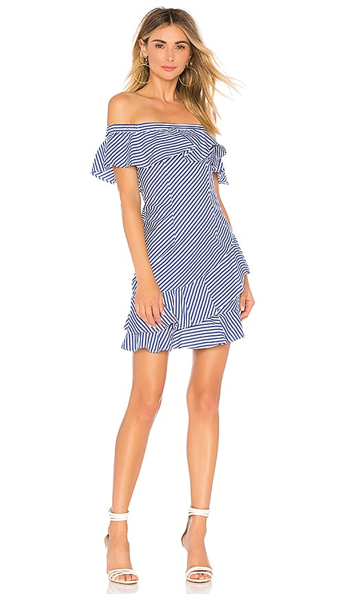 3865db24d19a About Us Rosa Striped Off Shoulder Dress in Blue   White Stripes ...