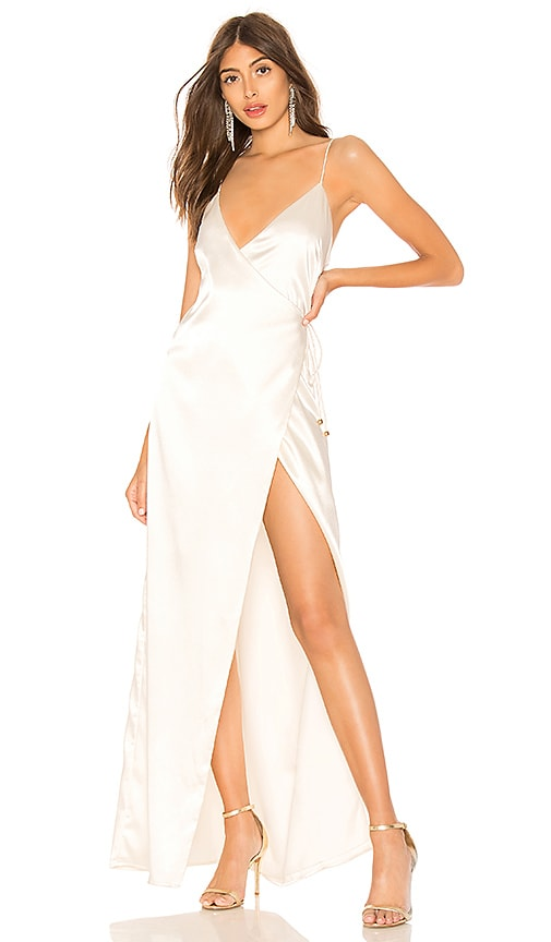 67e00960210 About Us Coco High Slit Maxi Dress in White