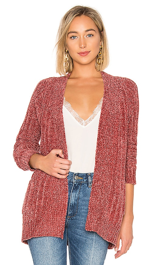 About Us Amber Oversized Chenille Cardigan In Blush Pink Revolve