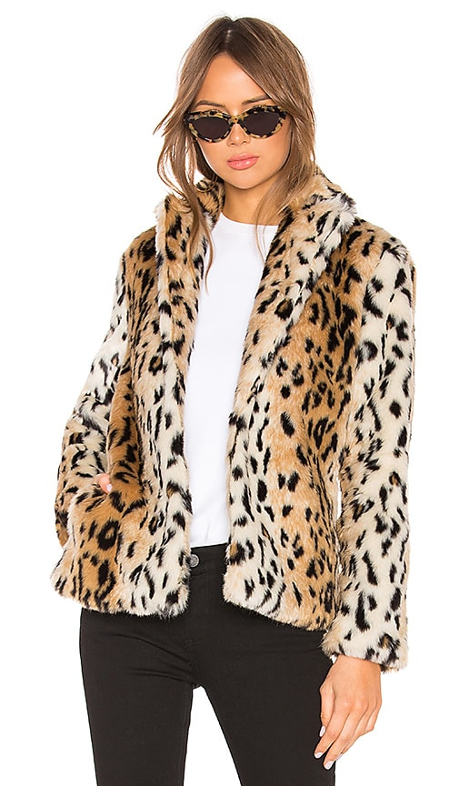Roxy Faux Fur Leopard Coat