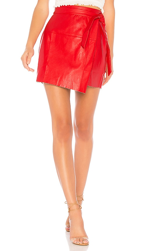 Jazzy Faux Leather Wrap Skirt