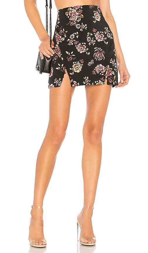 About Us Brooke Floral Mini Skirt in Black